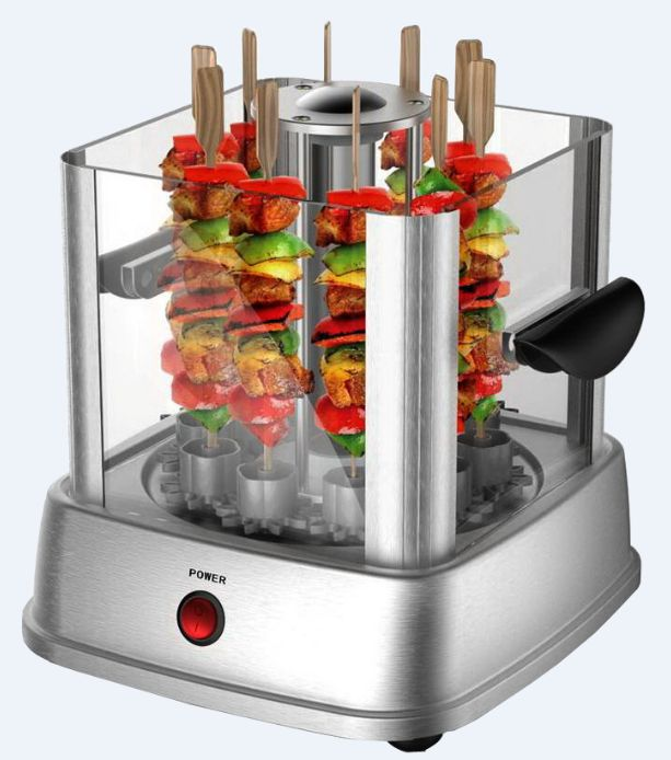 #Automatic_rotating_electric_barbecue_grill_machine http://www.apg-appliance.com/bbq-maker/1.html 230V, 850W stainless steel, holds 10 self-roating skewers when using, removable glass cover