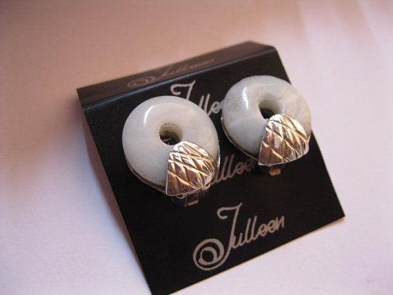 Clip On Pale Jade Donut, Textured Fan Detail, Hallmarked Sterling Silver Earring