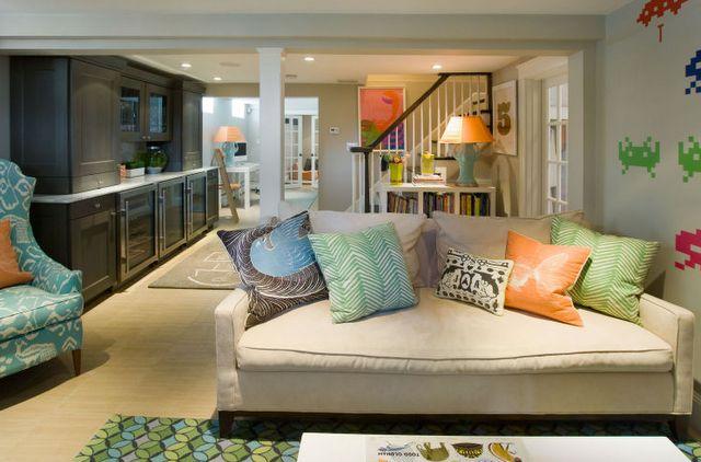 basement: Liz Caan, Color, Family Rooms, Basement Playroom, Basement Ideas, Basements, Basement Family