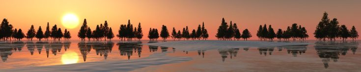 Panorama of the winter landscape. Sunset over ice and snow. 3d rendering.