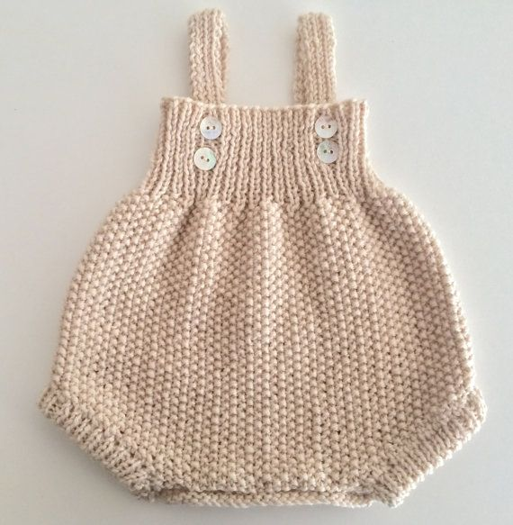 Ready to ship hand knitted baby boy girl merino wool romper