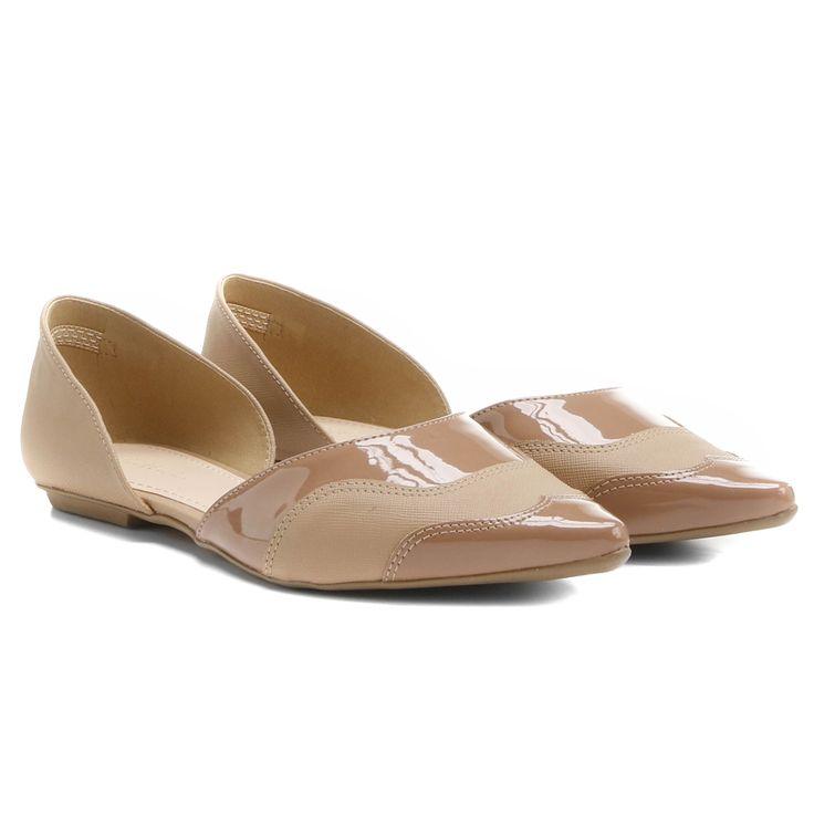 Sapatilha Shoestock Semi Aberta Bico Fino Safiano Nude | Zattini