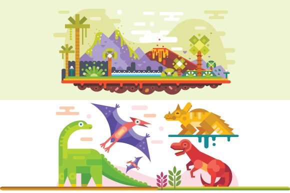 Awesome Prehistoric Dinosaur Set. by TastyVector on @creativemarket