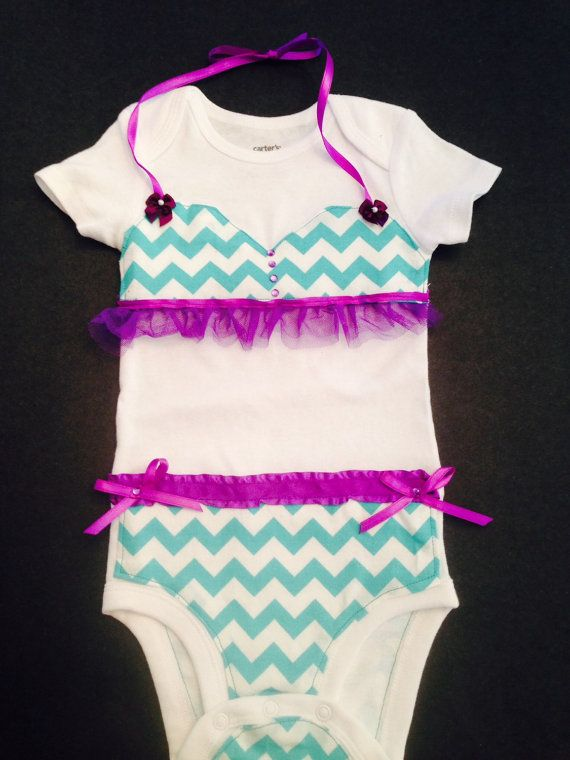 Chevron Bikini onesie por NanasLilCreations en Etsy