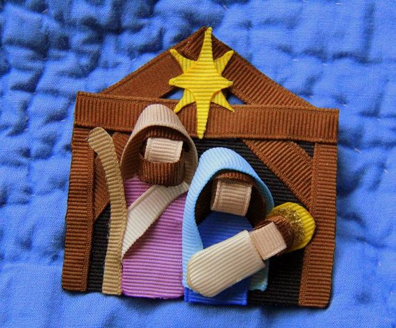 Natividad cinta hecha a mano pinza de pelo por CelticTideCreations,