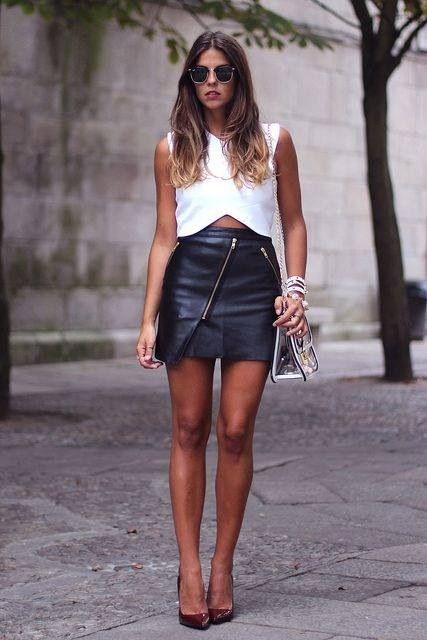 leather skirt crop top girly skirts