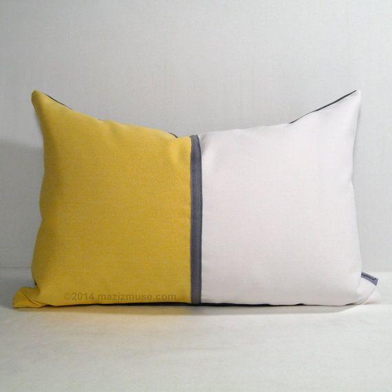 Yellow U0026 White Outdoor Pillow Cover, Decorative Pillow Cover, Modern Yellow  Grey Color Block Pillow Cover, Buttercup Sunbrella Cushion Cover