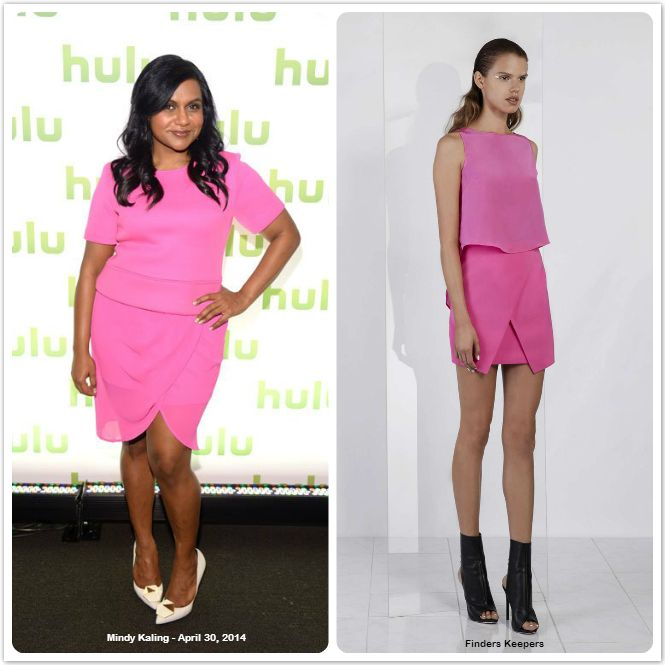 Mindy Kaling spot in  Finder's Keepers SUCH GREAT HEIGHTS SKIRT super bright in a hot pink
