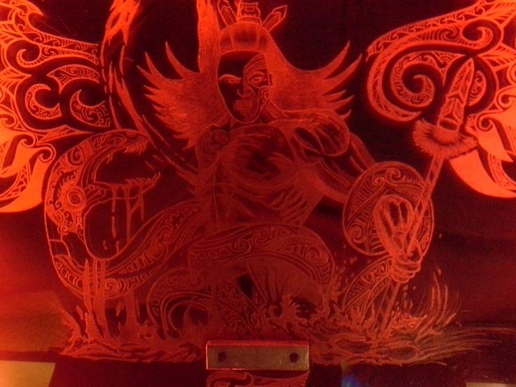 Glass engraving maori warrior red led