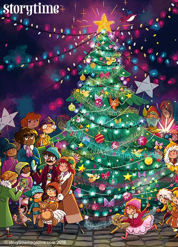 A wonderful Christmassy scene from our Little Donkey fable in Storytime 40. Art by Tatiana Obukhovic. ~ STORYTIMEMAGAZINE.COM