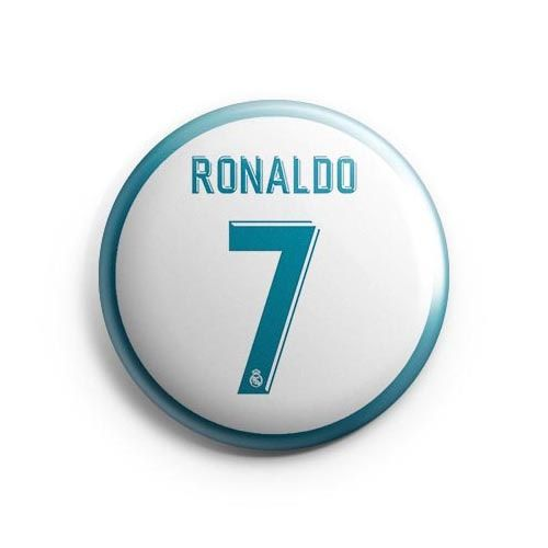 Real Madrid #7 Cristiano Ronaldo by Hat-Trick Stickers Pinback button or magnet 38mm.Real Madrid #7 Cristiano RonaldoColor: White/Light BlueSize: 38mmWeight: 5g