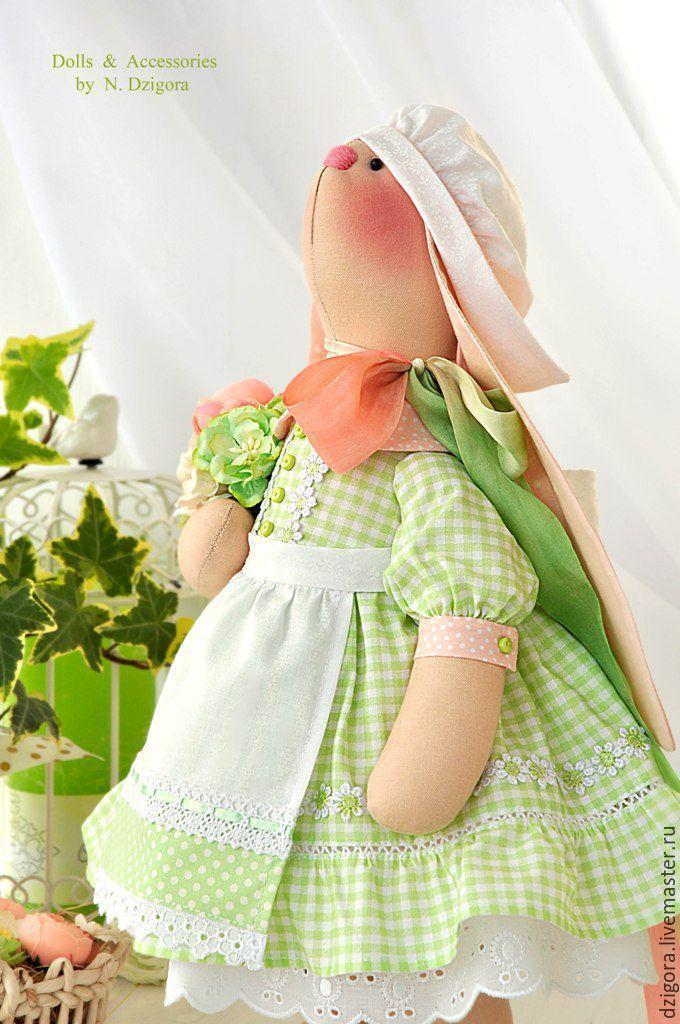 Купить Зайка текстильная Нежная фрезия. Пасхальная зайка - заяц, зайчик, зайцы, игрушка заяц