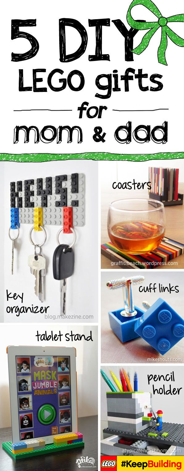 Hen! We have compiled 5 of our favorite DIY LEGO gift ideas for mom and dad! A LEGO key chain, LEGO coasters, a LEGO tablet stand, LEGO cuff links and a LEGO pencil holder! Share with us your child's creative LEGO gift ideas and #KeepBuilding!