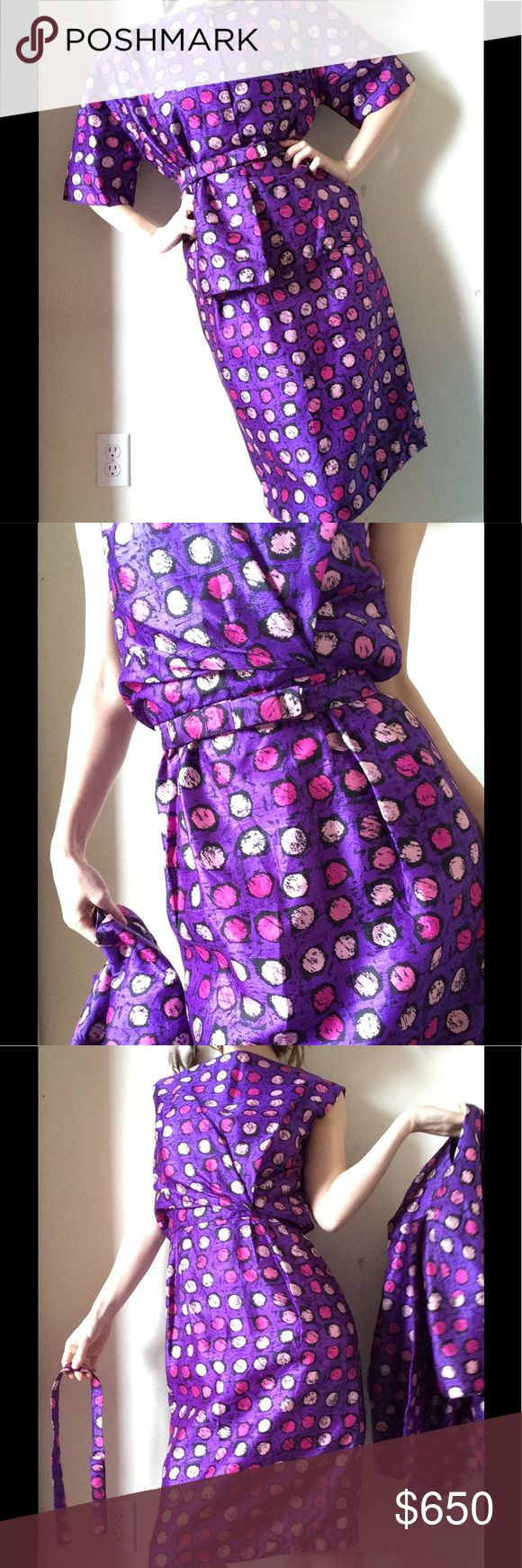 1950 Miss Egypt Haute Couture Le Cairo 3pc Suit Stunning & Eclectic in Excellent condition. Smoke free home. Silk. Fully lined. Polka dot pink & purple. Long metal zipper up the back with covering hook & eyes. Inner belt hooks. Duster blazer. Hand sewn. Measurements laying flat: soon! Formal cocktail 🍹 Gown Vintage Dresses Mini