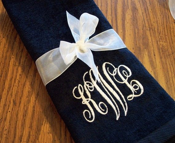 A beautiful monogrammed hand towel perfect for your home bathroom