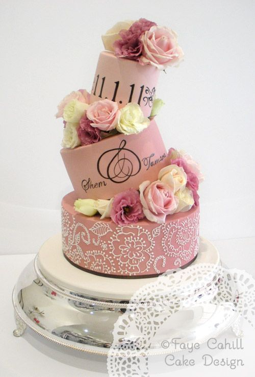 Tilted tiers in ombre pinks.  i adore the lettering!!Cahill Cake, Modern Wedding Cake, Cake Design, Tiered Ombre Cake, Amazing Cake, Wedding Cakes, Decor Cake, Faye Cahill, Pink Cake