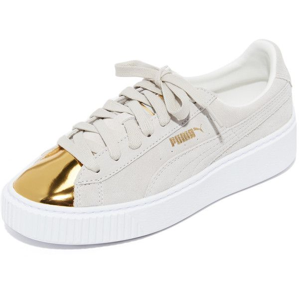 PUMA Creeper Metallic Toe Sneakers ($67) ❤ liked on Polyvore featuring shoes, sneakers, creeper platform shoes, puma creeper, leather lace up sneakers, lace up sneakers and platform shoes