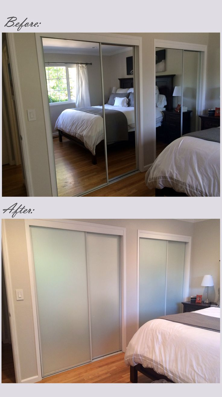 Mirrored closet door makeover -- I covered the existing doors with Gila frosted glass film from Home Depot.  Cost about $85.00 and it took about 4 hours to complete!