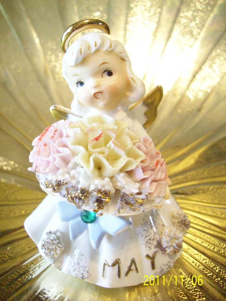 RARE Vintage Lefton May Birthday Angel Girl Figurine BEAUTIFUL! | eBay