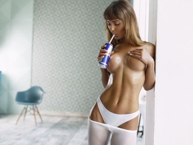 Wallpapers Half-Naked Girl Drinks Red Bull, Photo -4862