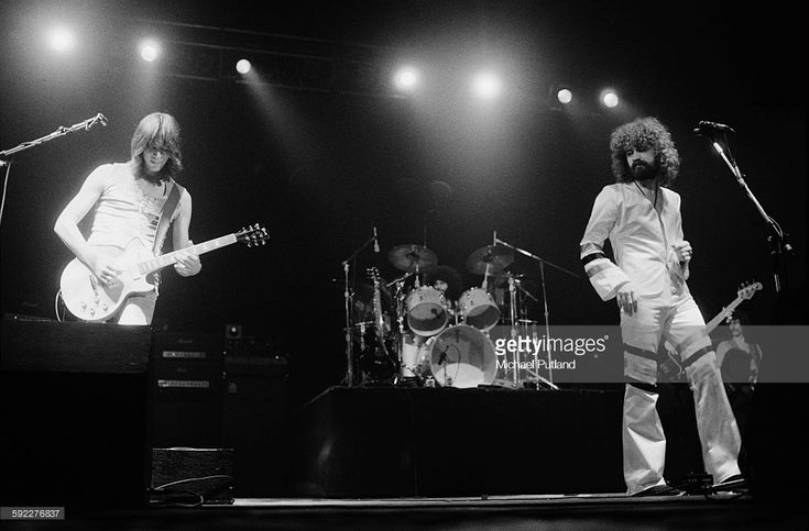 American rock group Boston performing on stage, USA, 30th January 1977. Left to right: Tom Scholz, Sib Hashian (drums) and Brad Delp.
