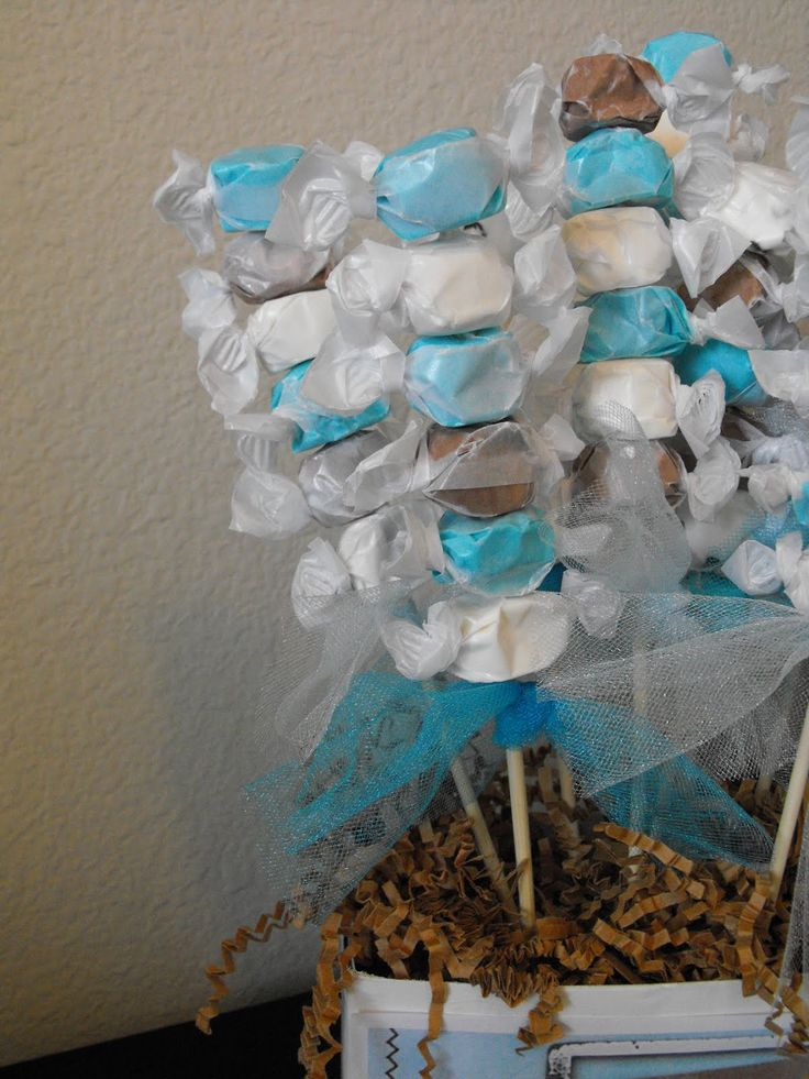 Homemade baby shower centerpieces little of this a for Baby shower decoration ideas boy