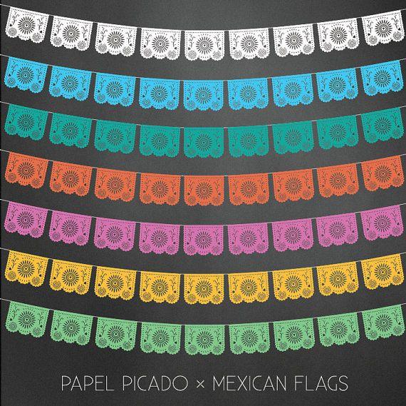 papel picado flags vector illustrator digital download dia