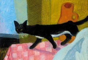Berény Róbert - Macskás csendélet, 1929-1930