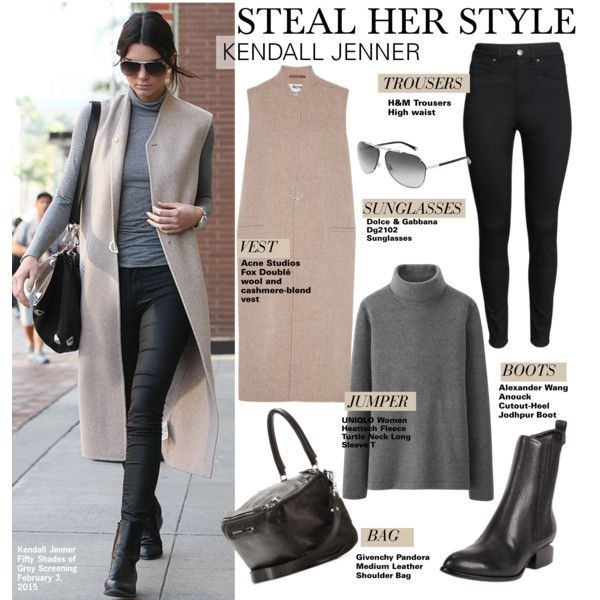 Steal Her Style-Kendall Jenner by kusja on Polyvore featuring Uniqlo, Acne Studios, H&M, Givenchy, Alexander Wang, Stealherstyle, celebstyle and kendalljenner