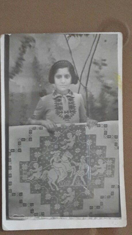 Armenian little girl handmade Aintab needlework