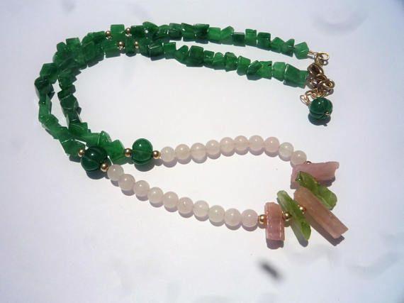 Gemstone necklace Rough pink Tourmaline Peridot necklaceRose