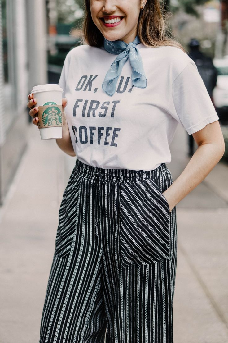 Coffee and cozy pants | But first coffee shirt | pants outfit | Kayla's Five Things