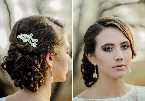 złota panna młoda, złoty grzebyk do włosów na ślubu, złoty makijaż ślubny