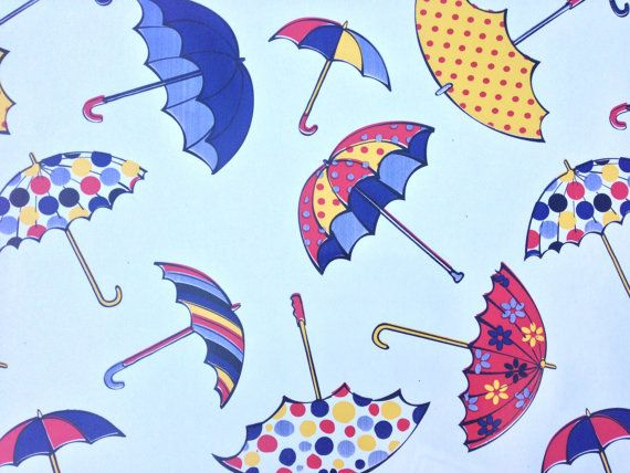 White Umbrellas Print PVC Kitchen Retro by TheFabricShopUK on Etsy, £7.50
