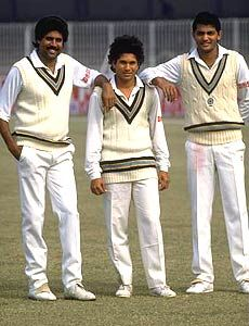 Sachin Tendulkar, with Kapil Dev and Azharuddin