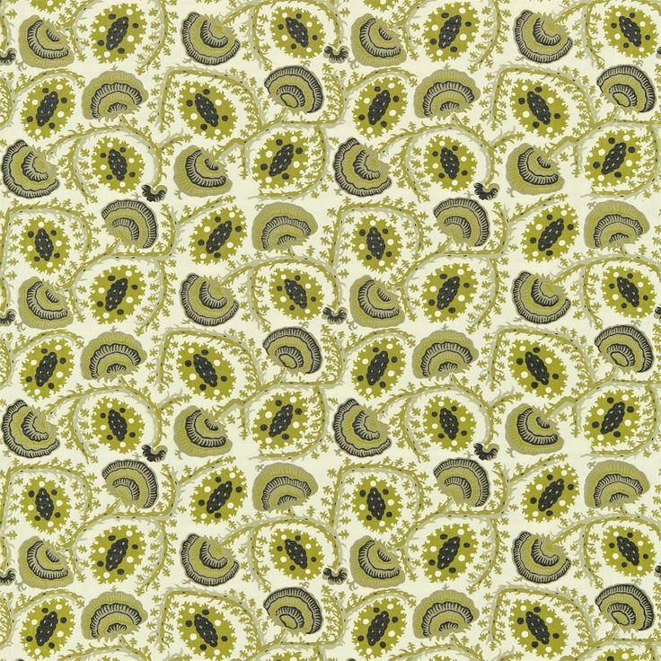 Zoffany Fabric - Suzani Anj05001 Olive/black