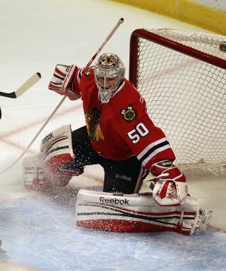 Corey Crawford, the man who really makes it or breaks it, the last stand on keeping the opposing team making a goal.