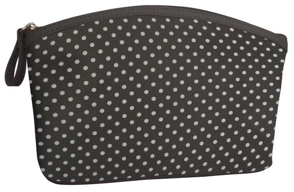 Harmaa, kuvioitu kosmetiikkalaukku on kokonsa puolesta sopiva meikkipussukka käsilaukkuun.    Leveys 21 cm, syvyys 6 cm, korkeus 13 cm.    Cailap.fi