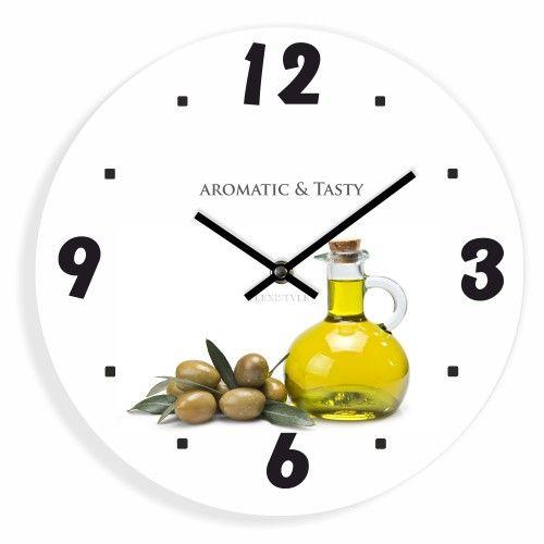Nástěnné kuchyňské hodiny s obrázkem oliv