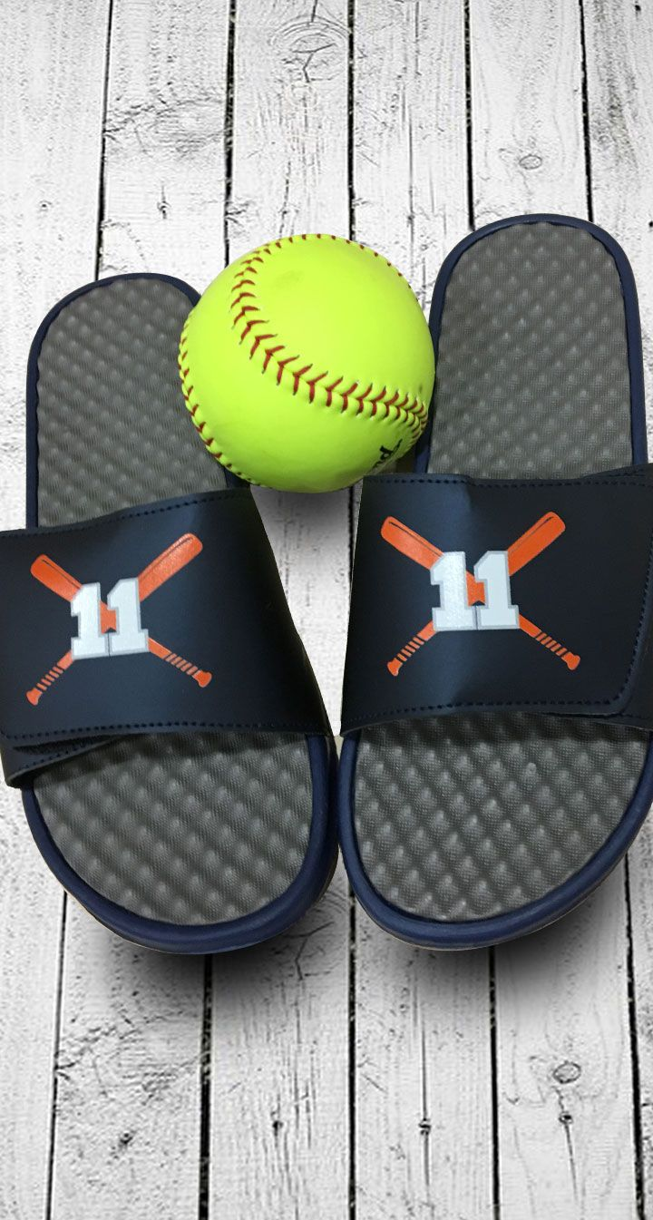 Softball slides! Customize with your jersey number, team colors or even your team logo. A great softball gift idea for players, coaches and fans.