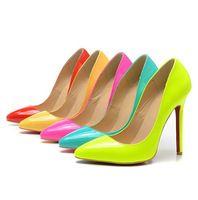 Бесплатная доставка новый 2014 неоновые цвета на высоком каблуке туфли на высоком каблуке обувь из натуральной кожи туфли на шпильках 10 см 12 см красной подошвой каблуки
