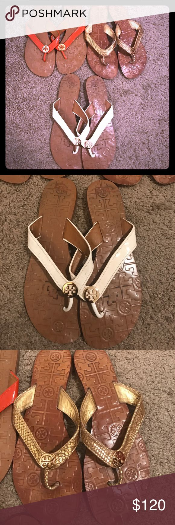 Tory Burch Flip Flop Bundle 3 pairs of Tory Burch Flip Flops •cream and gold • gold on gold • orange and gold • leather upper • super comfortable • Tory Burch Shoes Sandals