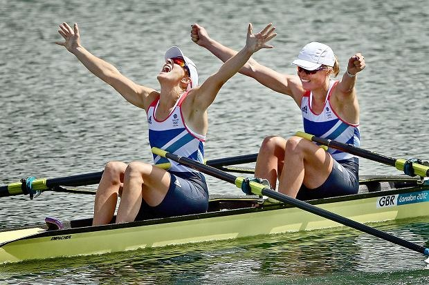 Aug 3 Katherine Grainger and Anna Watkins of Great Britain celebrate after winning gold