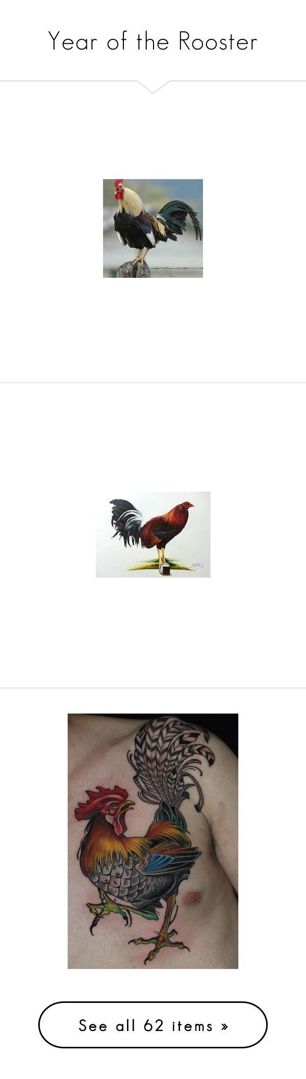"""""""Year of the Rooster"""" by sigred ❤ liked on Polyvore featuring accessories, body art, home, home decor, rooster home decor, clocks, rooster alarm clock, diamond home decor, rooster clock and canvas home decor"""