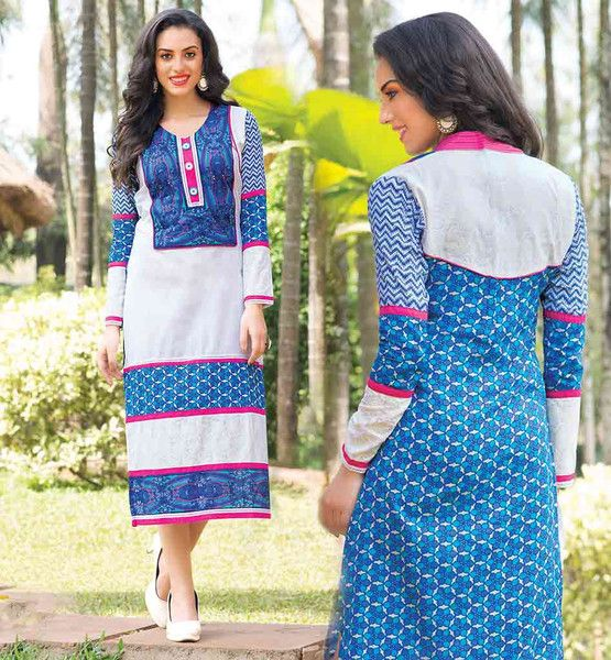 PRINTED KURTI DESIGNS DESIGNER NECK AND BACK PATTERN DESIGNER PURE COTTON TUNIC TOP WITH NICE OFF-WHITE AND BLUE COLOR COMBINATION