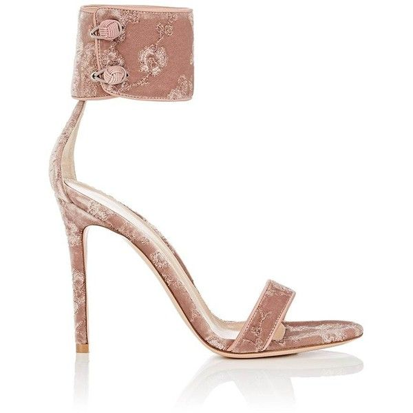 Gianvito Rossi Women's Empress Embroidered Velvet Sandals ($1,075) ❤ liked on Polyvore featuring shoes, sandals, light pink, light pink sandals, ankle cuff sandals, high heel shoes, velvet shoes and wide fit sandals