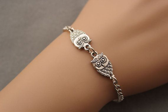 Owl bracelet,friend gift,Christmas gift,antique silver owl pendant,alloy chain bracelet(AB043) on Etsy, $1.99