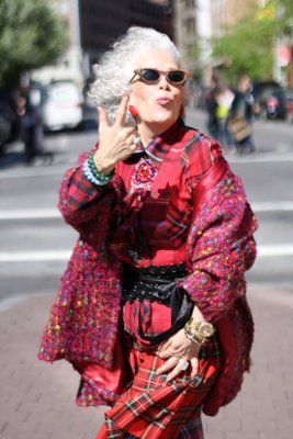 When I am an old woman, I will wear purple (and red). Cat eyes and mix-and-match tartan prints