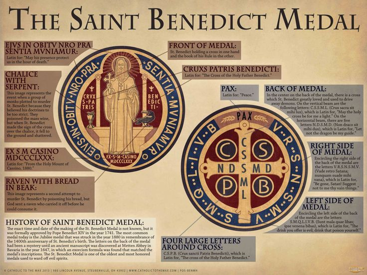 During his life, St. Benedict was known to work many miracles using the power of the Holy Cross. Among these included his heroic flight from temptations and miraculous escapes from traps set to kill him.  Saint Benedict became known for his power over the Devil, with the Holy Cross as his efficaci