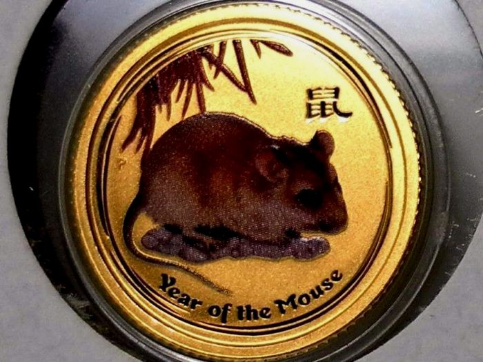 Spectacular 2008 1/10 oz Gold Lunar Year of the Mouse BU, Colorized https://www.world-coin-collector.com/product/2008-110-oz-gold-lunar-year-of-the-mouse-bu-colorized/ #CoinCollecting #GoldCoins